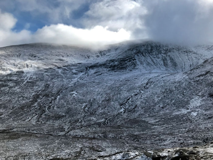 Snowy Slievenaglogh in the Mournes.