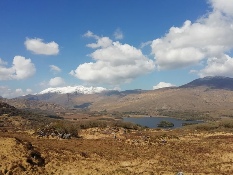 Carrauntoohil and snow capped Macgillycuddy Reeks from Black Valley