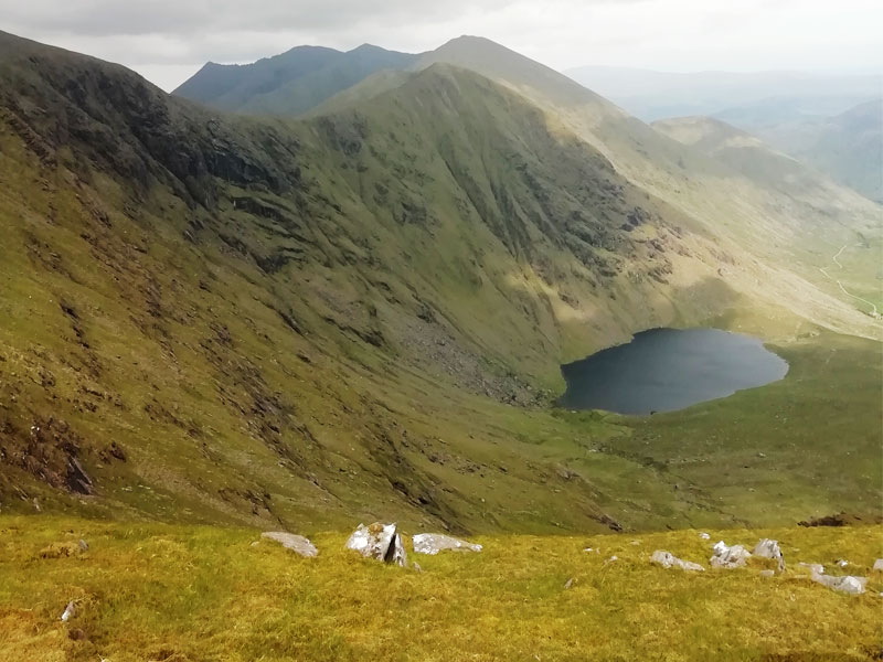 hiking carrauntoohil from curraghmore_lake