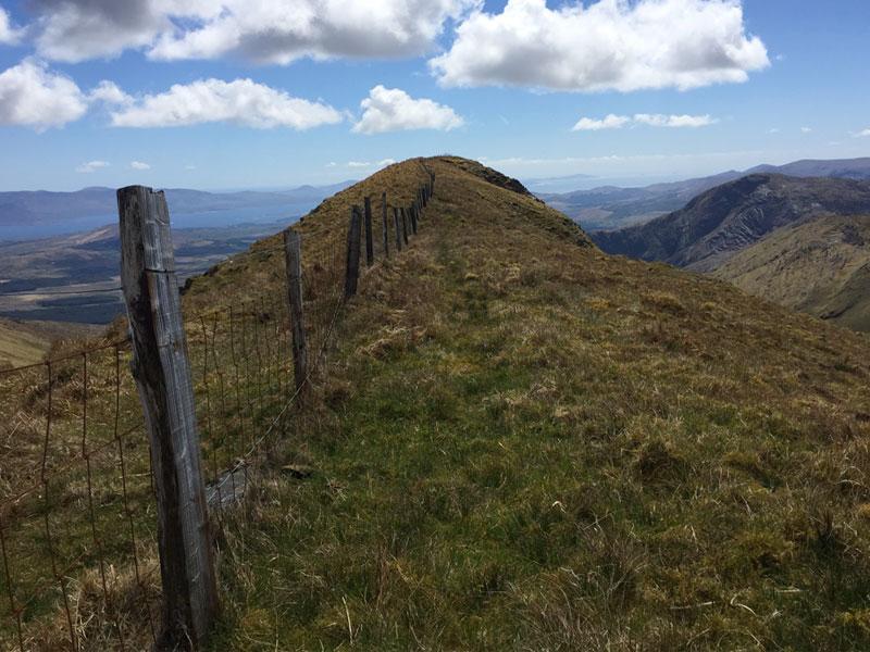 The 360m long grassy ridge on top of Beann Mountain