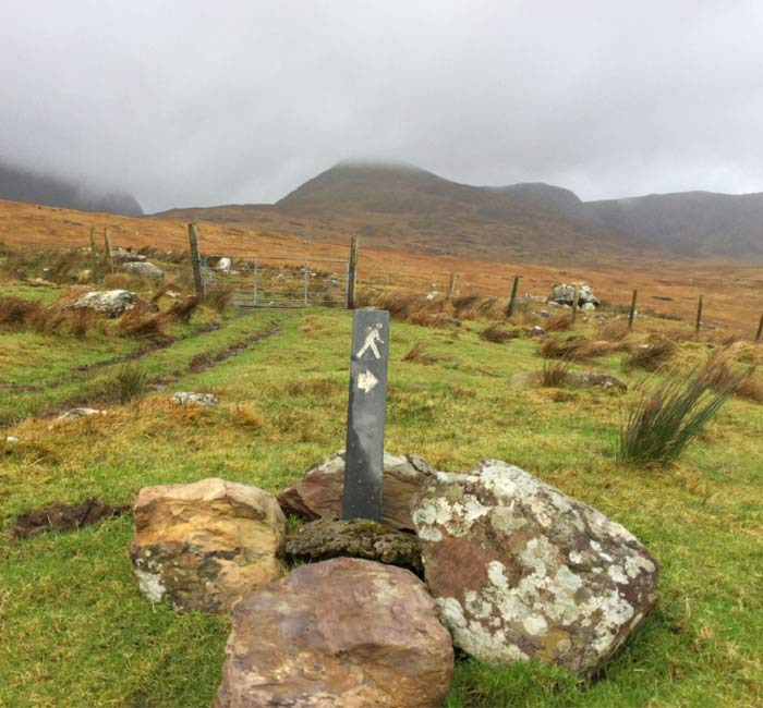 Waymarker sign in Sneem GeoPark Hills