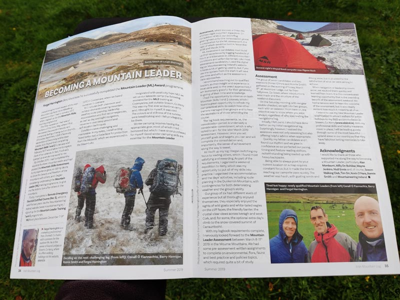 The article 'Becoming a Mountain Leader' was published in the Summer 2019 Issue 130 of  Irish Mountain Log Magazine