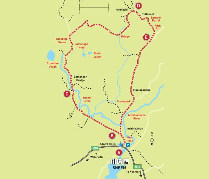 Sneem Walks Route Map of the Fermoyle Loop