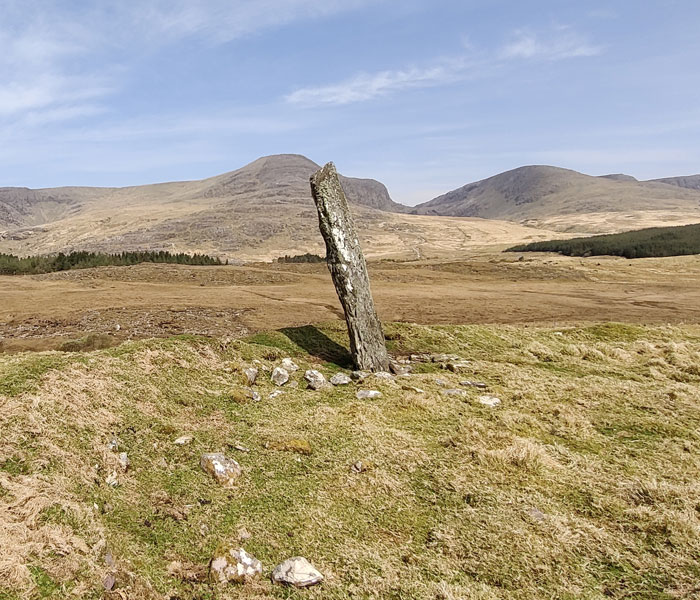 Dromtine Standing Stone visible from both Sneem's Fermoyle and Lománagh Loop Walking Trails