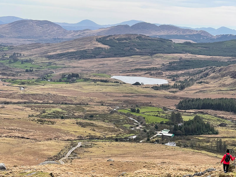 View towards Sneem, Kenmare Bay and The Caha Mountains of Beara
